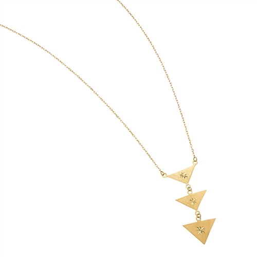 "YG SATIN TRIPLE TRIANGLE GEOMETRIC DANGLE NECKLACE 16""+2"" EXT"