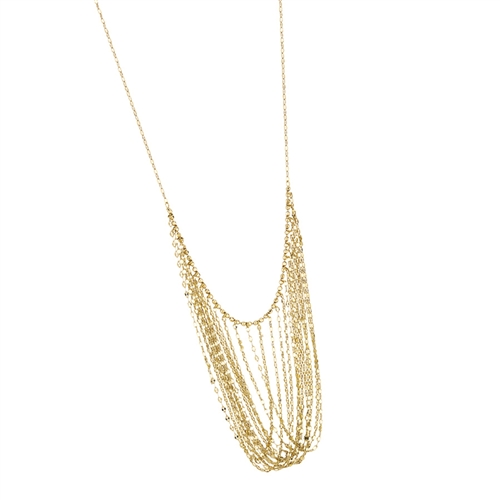 "14K YG DRAPING CHAINS NECKLACE 16""-18"" EXTND."