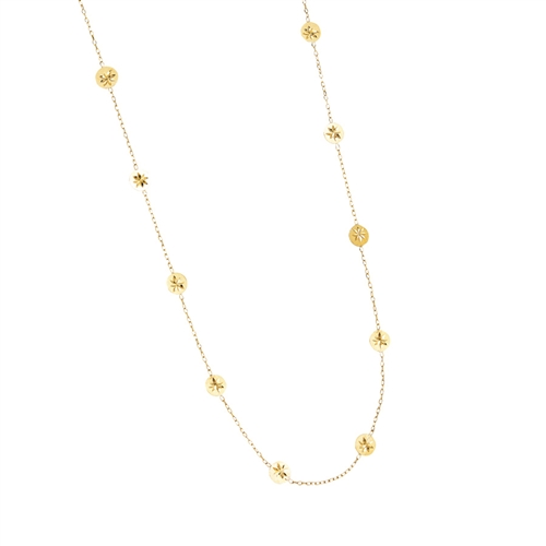 "14K YG SATIN STAR DC STATIONED CIRCLE NECKLACE 16""-18"" EXTND"