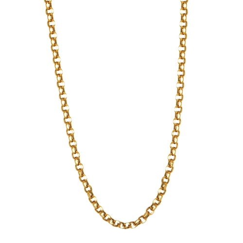 14K YG DIAMOND CUT 5.2MM BOLD FANCY ROLO NECKLACE