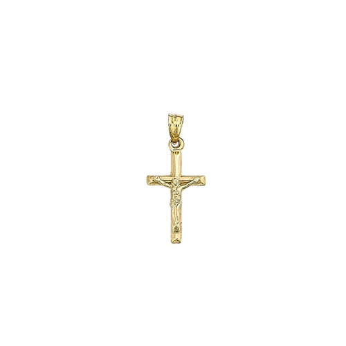 14K YG Polished Mini Crucifix