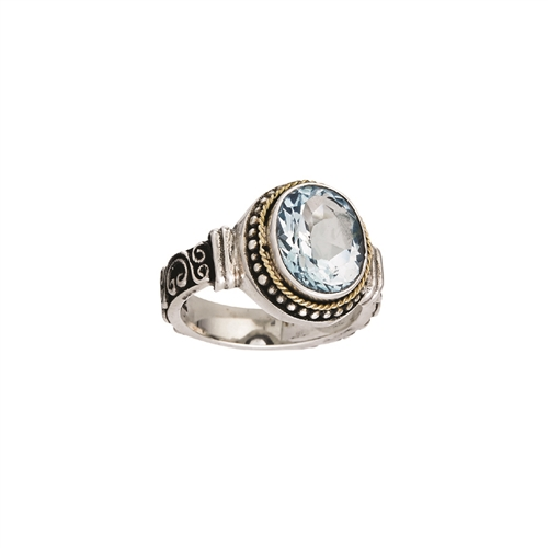 18 KT - SS BALI DESIGN RING WITH BLUE TOPAZ