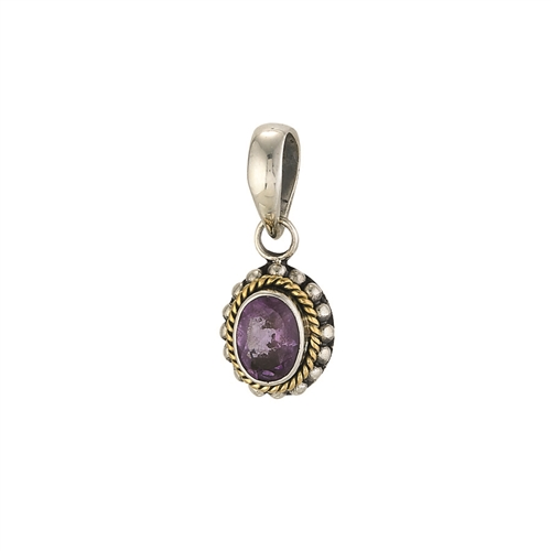 SS 18K BALI DESIGN OVAL BEADED ROPE AMETHYST PENDANT