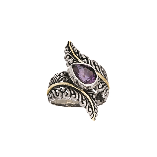 18 KT - SS RING WITH PURPLE AMETHYST