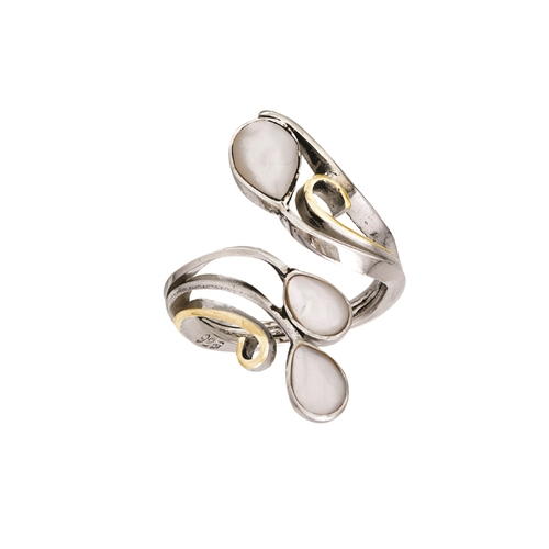 18 KT - SS ADJUSTABLE RING WITH WHITE ABALONE