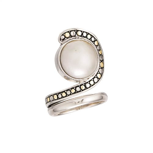 18 KT - SS SWIRL RING WITH WHITE PEARL