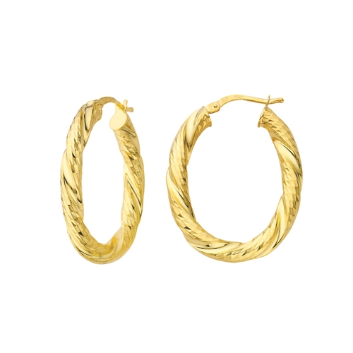 GA GP ITALIAN DC TWISTED OVAL HOOP EARRINGS