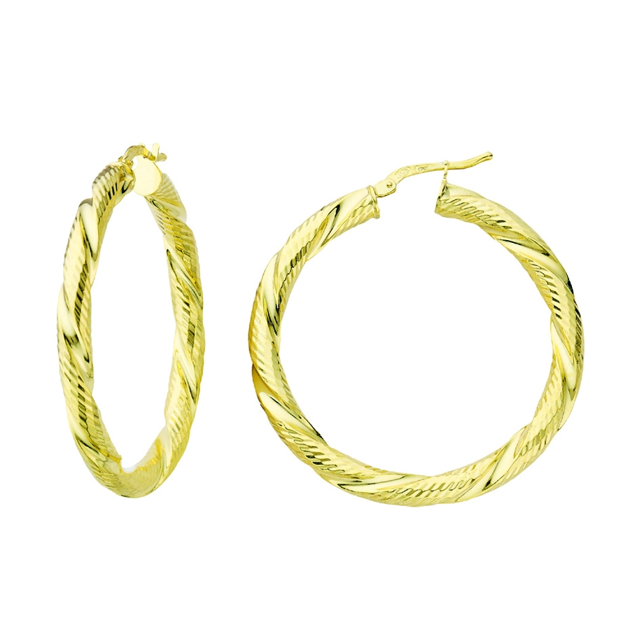 GA GP ITALIAN DC TWISTED HOOP EARRINGS