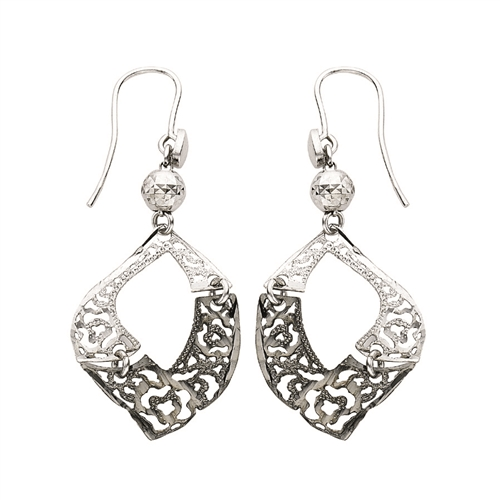 SS RHD/BLKRHD GEOMETRIC FILIGREE FANCY DANGLE EARRINGS