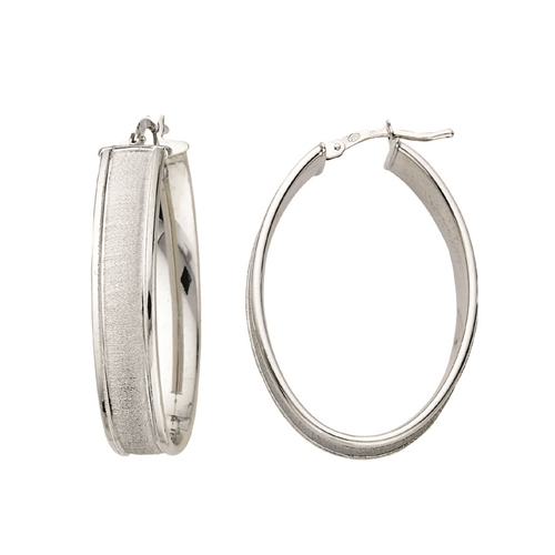 SS RHODIUM POLISHED OVAL HOOP W/ SATIN DESIGN CENTER