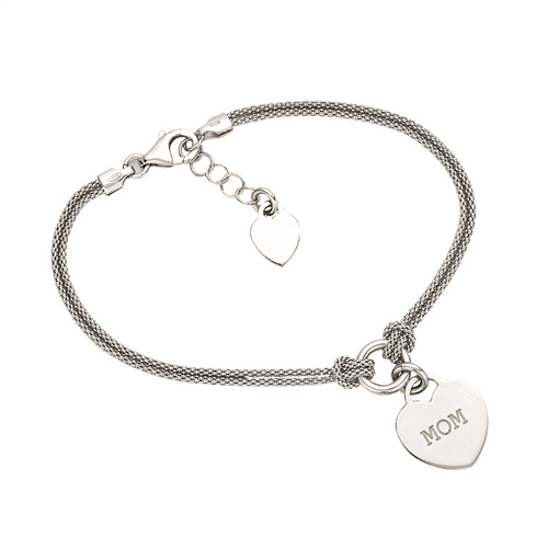 "SS RHD POPCORN CHAIN W/ ""MOM"" ENGRAVED HEART ADJ TO 08"""
