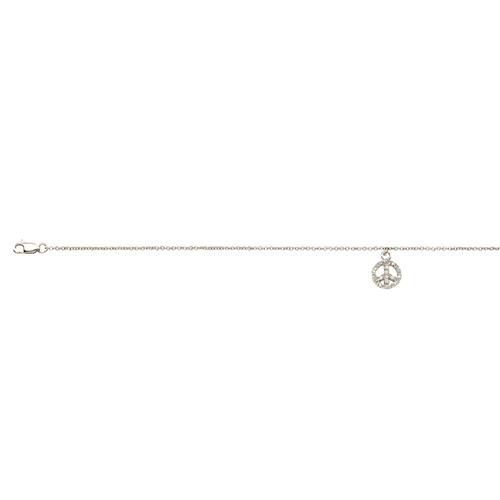 SS RHD CZ DANGLE PEACE SIGN ANKLET 9+1
