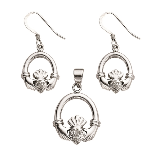 SS RHD CLADDAUGH EARRING PENDANT SET