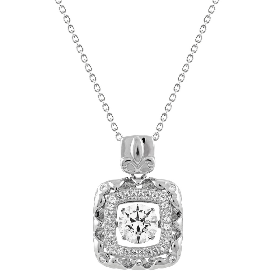 SSRHD GEMS IN MOTION SWAROVSKI SQ. DESIGN PENDANT WITH CHAIN