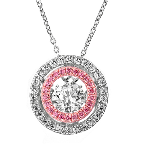 SSRHD GEMS IN MOTION SWAROVSKI DBL CIRCLE WHITE/PINK PENDANT WITH CHAIN