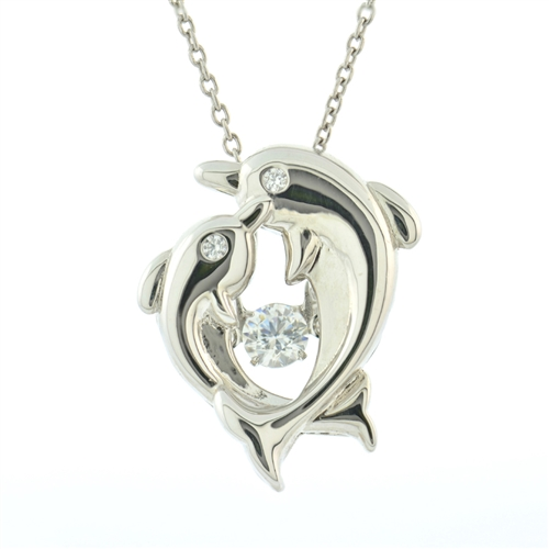 SSRHD GEMS IN MOTION SWAROVSKI DBL DOLPHIN PENDANT WITH CHAIN