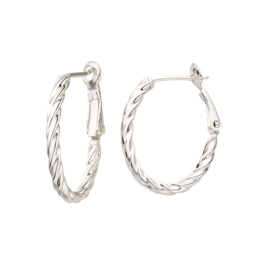 SS TWISTED OVAL 20X25 HOOP OMEGA BACK